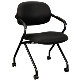 HON VL303 Series Nesting Arm Chair, Black/Black