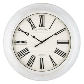 "30"" Sterling & Noble White Farmhouse Wall Clock with Raised Roman Numerals"