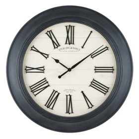 "30"" Sterling & Noble Black Farmhouse Wall Clock with Raised Roman Numerals"