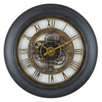 """30"""" Sterling & Noble Black Framed Rustic Gear Wall Clock with Raised Roman Numerals"""