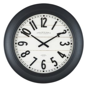 """30"""" Sterling & Noble Black Frame Modern Farmhouse Wall Clock with Raised Arabic Numbers"""