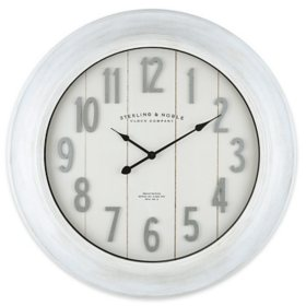 """30"""" Sterling & Noble White Modern Farmhouse Wall Clock with Raised Galvinized Arabic Numbers"""