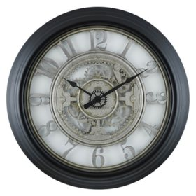 """28"""" Sterling & Noble Rustic Gear Wall Clock with Raised Arabic Numbers"""