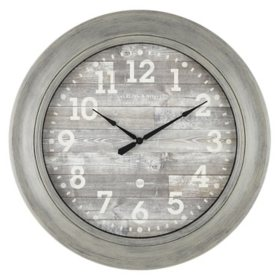 """28"""" Sterling & Noble Rustic Gray Farmhouse Wall Clock with Rustic Gray Dial"""