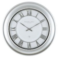 """28"""" Sterling & Noble Modern Silver Wall Clock with Raised Roman Grill Dial"""