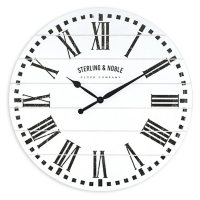 """23"""" Sterling & Noble White Frame-less MDF Rustic Farmhouse Wall Clock"""
