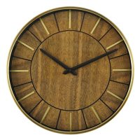 """16"""" Sterling & Noble Mid Century Modern Wall Clock with Brushed Brass Finished Metal Raised Hour Markers"""