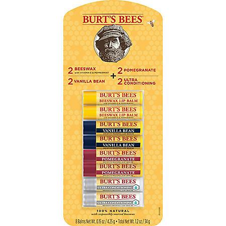 Burt's Bees 100% Natural Moisturizing Lip Balm, Original Beeswax, Vanilla Bean, Pomegranate & Ultra Conditioning (8 tubes)