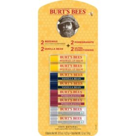 Burt's Bees 100% Natural Moisturizing Lip Balm, Original Beeswax, Vanilla Bean, Pomegranate & Ultra Conditioning (8 tubes)