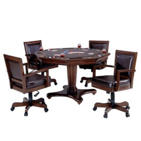 Hillsdale Furniture Ambassador Game Table and Chairs, 5-Piece Set