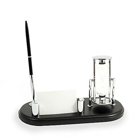 Executive Pen Stand with Sand Timer and Card Holder on Solid Wood Base