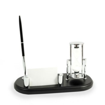 Bey-Berk Executive Pen Stand with Sand Timer