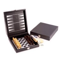 Black Leather 5-in-1 Game Set