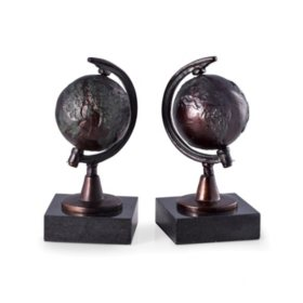 Revolving Globe Bookends on Black Marble Base