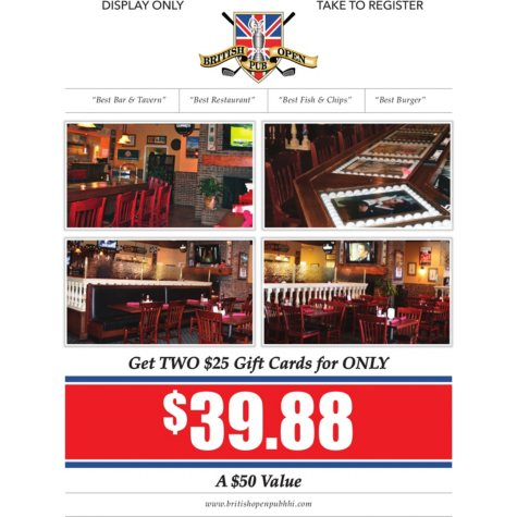 British Open Pub - 2 x $25 Giftcards