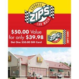 Zips Car Wash $50 Gift Card
