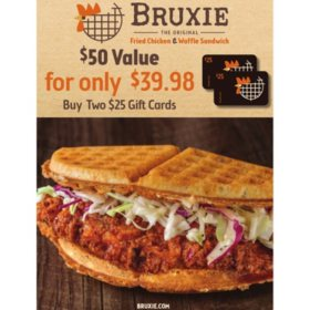 Bruxie $50 Value Gift Cards - 2 x $25