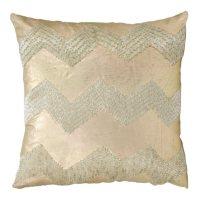 """Light Gold Wide Chevron 16"""" x 16"""" Decorative Pillow By Nourison"""