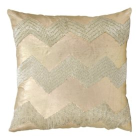 "Light Gold Wide Chevron 16"" x 16"" Decorative Pillow By Nourison"