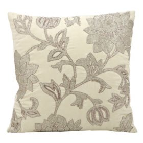 "Ivory Silver Flowers 18"" x 18"" Decorative Pillow By Nourison"