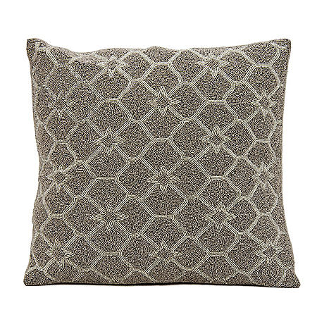 """Silver Grey Beaded Stars 16"""" x 16"""" Decorative Pillow By Nourison"""