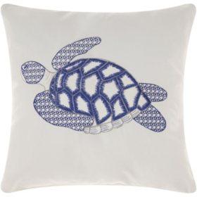Mina Victory Sea Turtle White Outdoor Throw Pillow