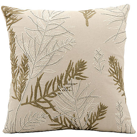 "Feather Branch 16"" x 16"" Decorative Pillow By Nourison"