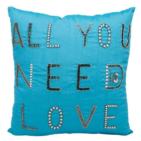 """Turquoise All You Need Is Love 18"""" x 18"""" Decorative Pillow By Nourison"""
