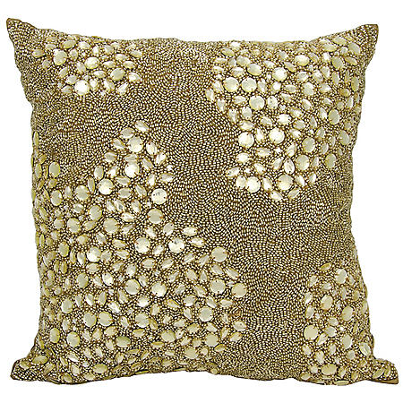 "Light Gold Fully Beaded 20"" x 20"" Decorative Pillow By Nourison"