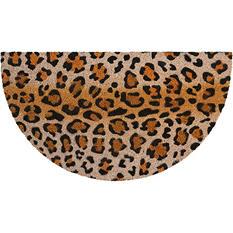 Mina Victory Leopard With Glitter Beige Black Outdoor Doormat