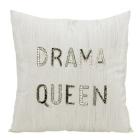 "White Drama Queen 18"" x 18"" Decorative Pillow By Nourison"