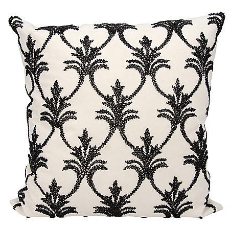 "Black Silver Fleur De Lis' 18"" x 18"" Decorative Pillow By Nourison"