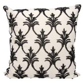 """Black Silver Fleur De Lis' 18"""" x 18"""" Decorative Pillow By Nourison"""