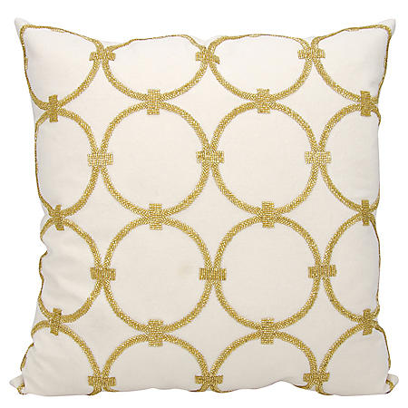 "Light Gold Circles 20"" x 20"" Decorative Pillow By Nourison"