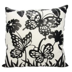 "Black Butterfly Garden 20"" x 20"" Decorative Pillow By Nourison"