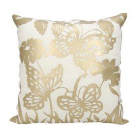 "Gold Butterfly Garden 20"" x 20"" Decorative Pillow By Nourison"