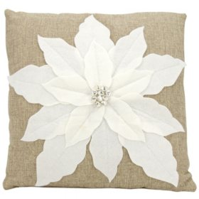 Mina Victory Home For The Holiday Pointsettia White Throw Pillow