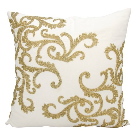 """Gold Beaded Corner Scroll 20"""" x 20"""" Decorative Pillow By Nourison"""