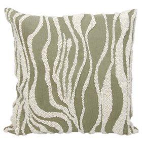 """Grey Beaded Zebra 18"""" x 18"""" Decorative Pillow By Nourison"""