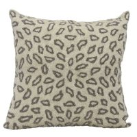 """Pewter Beaded Leopard 18"""" x 18"""" Decorative Pillow By Nourison"""