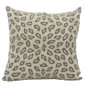 "Pewter Beaded Leopard 18"" x 18"" Decorative Pillow By Nourison"