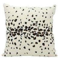 """Ivory Beaded Leopard 20"""" x 20"""" Decorative Pillow By Nourison"""