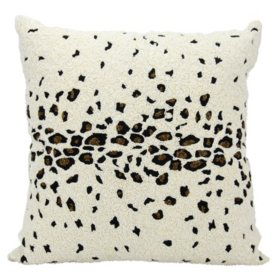 "Ivory Beaded Leopard 20"" x 20"" Decorative Pillow By Nourison"