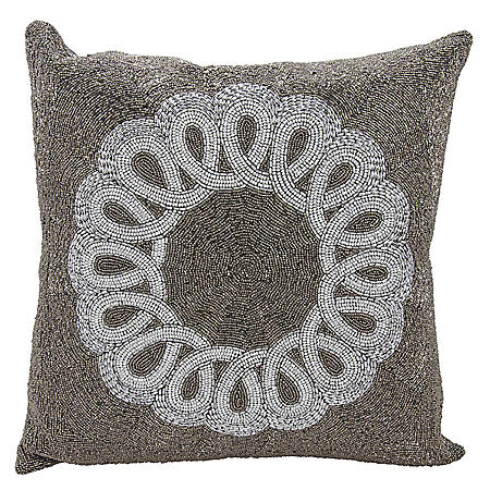"Pewter/Silver Infinity Ctr Scroll 20"" x 20"" Decorative Pillow By Nourison"