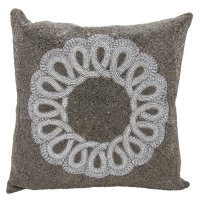 """Pewter/Silver Infinity Ctr Scroll 20"""" x 20"""" Decorative Pillow By Nourison"""