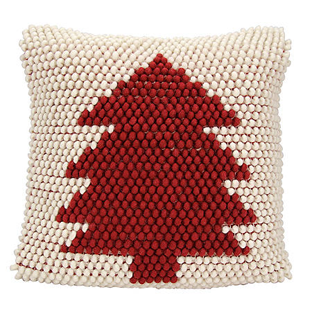 Mina Victory Home For The Holiday Christmas Tree Loops Ivory Red Throw Pillow
