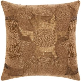 "Light Gold Antique Beading 18"" x 18"" Decorative Pillow By Nourison"