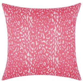 Mina Victory Leopard Hot Pink Outdoor Throw Pillow