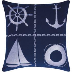 Mina Victory Nautical Grid Navy/White Outdoor Throw Pillow