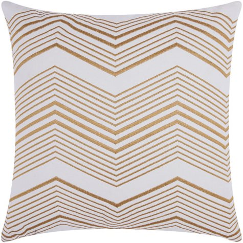 "Gold Thin Chevron 20"" x 20"" Decorative Pillow By Nourison"